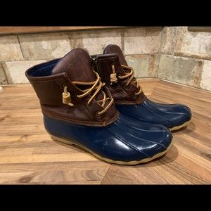 Sperry saltwater duck boots navy brown 9